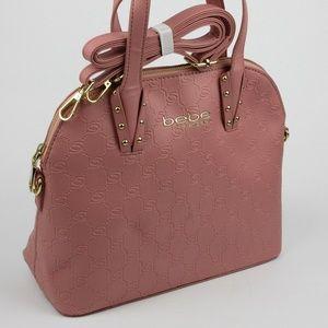 Bebe Womens Clarita Emboss Dome Blush Handbag